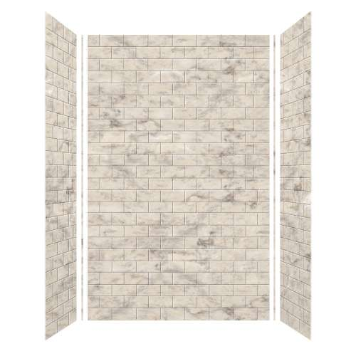Monterey 60-in x 36-in x 96-in Glue to Wall 3-Piece Shower Wall Kit, Creme/Tile