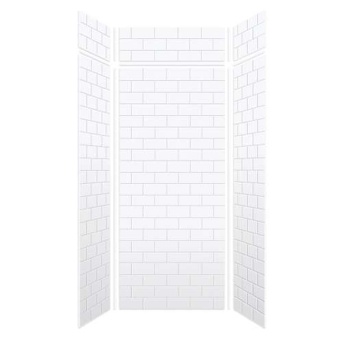 Monterey 48-in x 36-in x 84/12-in Glue to Wall 3-Piece Transition Shower Wall Kit, White/Tile