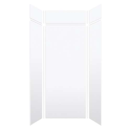 Monterey 48-in x 36-in x 84/12-in Glue to Wall 3-Piece Transition Shower Wall Kit, White/Velvet