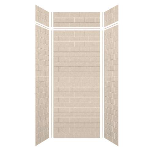 Monterey 48-in x 36-in x 84/12-in Glue to Wall 3-Piece Transition Shower Wall Kit, Butternut/Tile