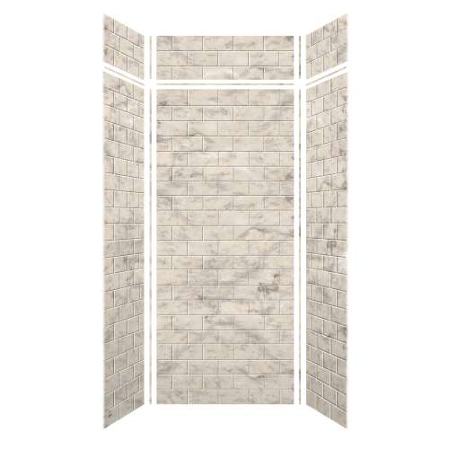 Monterey 48-in x 36-in x 84/12-in Glue to Wall 3-Piece Transition Shower Wall Kit, Creme/Tile