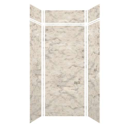 Monterey 48-in x 36-in x 84/12-in Glue to Wall 3-Piece Transition Shower Wall Kit, Creme/Velvet