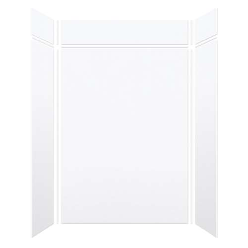 Monterey 60-in x 36-in x 84/12-in Glue to Wall 3-Piece Transition Shower Wall Kit, White/Velvet
