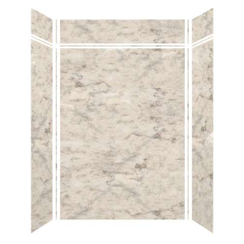Monterey 60-in x 36-in x 84/12-in Glue to Wall 3-Piece Transition Shower Wall Kit, Creme/Velvet